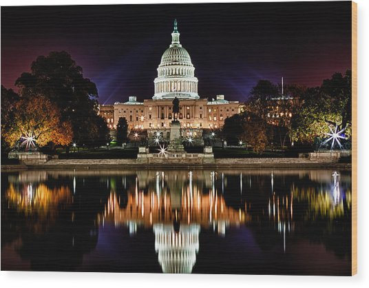 Us Capitol Building And Reflecting Pool At Fall Night 2 Wood Print