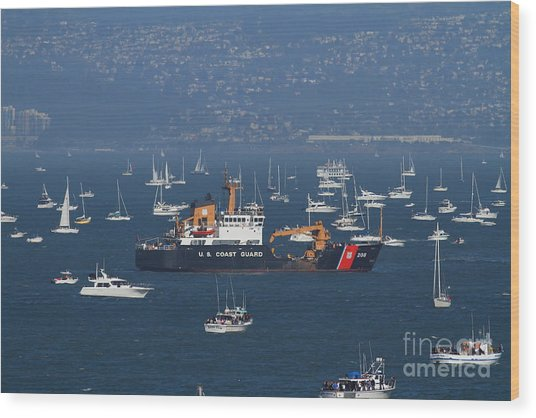 Us Coast Guard Ship Surrounded By Boats In The San Francisco Bay. 7d7895 Wood Print by Wingsdomain Art and Photography