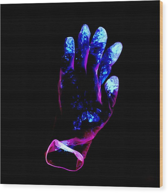 Used Surgical Glove, Negative Image Wood Print by Kevin Curtis