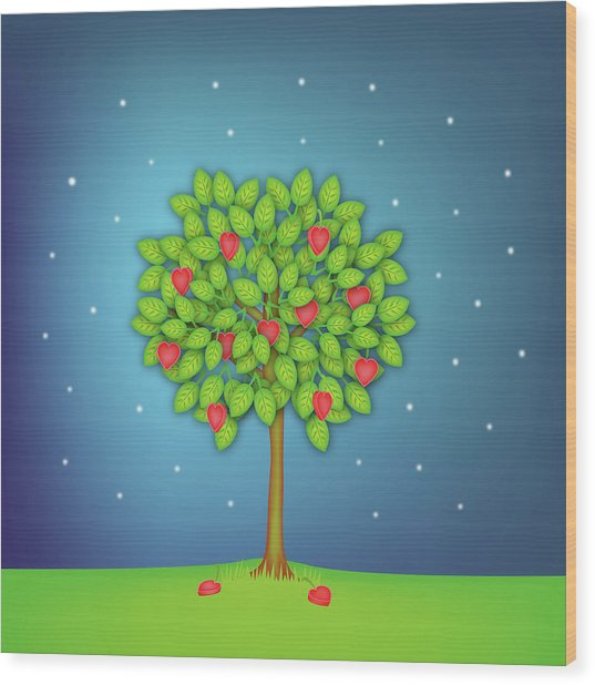 Valentine Tree With Hearts And Stars Wood Print by OldBag Illustrations