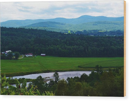 Valley Maine Wood Print by Josee Dube