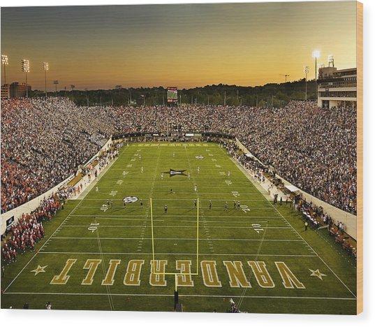Vanderbilt Endzone View Of Vanderbilt Stadium Wood Print by Vanderbilt University