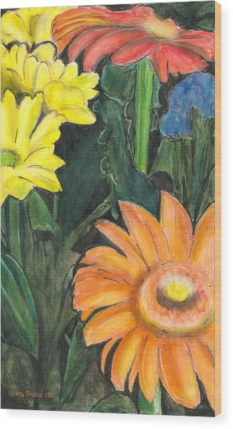 Vasco's Flowers Wood Print