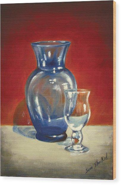 Vase N Glass Goblet Wood Print