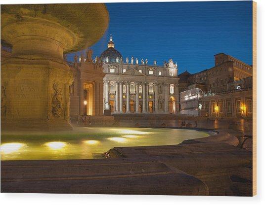 Vatican At Blue Hour Wood Print