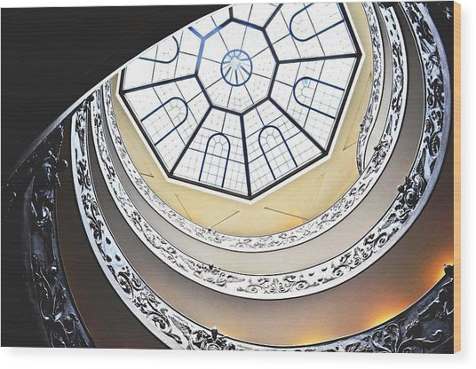 Vatican Staircase Wood Print by Heather Marshall