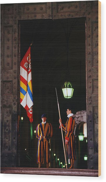 Vatican Swiss Guards Wood Print by Carlos Diaz