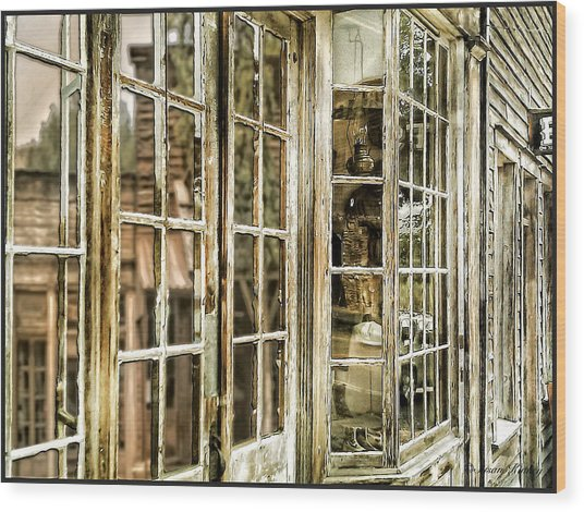 Vc Window Reflection Wood Print