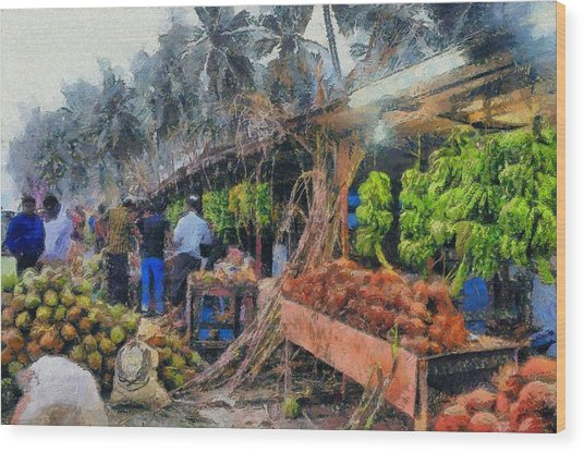 Vegetable Sellers Wood Print