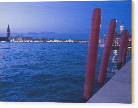 Venice At Sunset Wood Print by Michel Colinet
