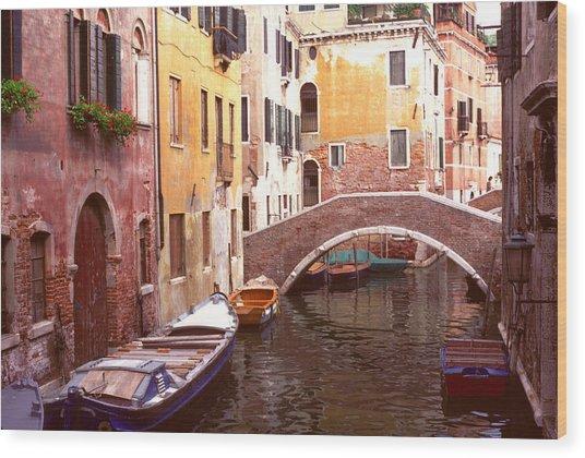 Venice Bridge Over A Small Canal. Wood Print