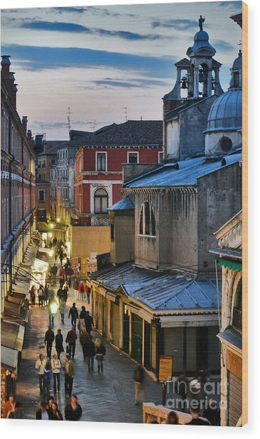 Venice From Ponte Di Rialto Wood Print