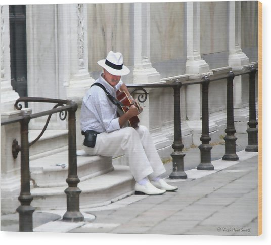 Wood Print featuring the photograph Venice Street Musician by Vicki Hone Smith