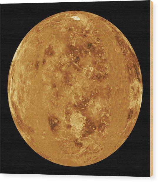 Venus, Radar Map Wood Print by Jplnasa