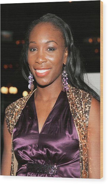 Venus Williams At Arrivals For Hitch Wood Print