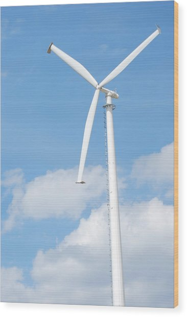 Vertical Windmill Wood Print by Kim French