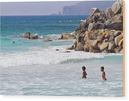 Vibrant Caribbean: Vibrant Blue Caribbean Seascape With Two Children Walking