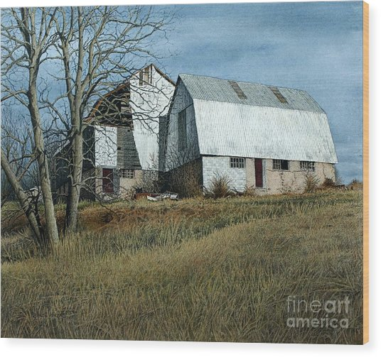 Victoria County Road Barn Wood Print