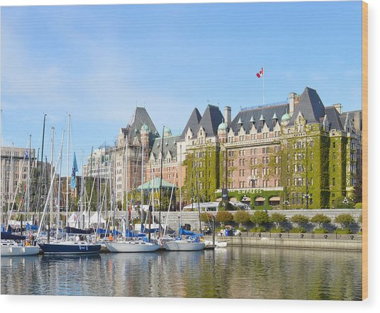 Victoria Vancouver Island Hotel Wood Print by Ann Marie Chaffin