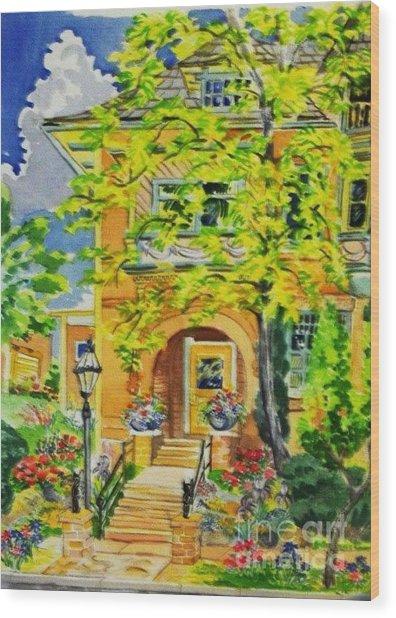 Victorian Sandstone Mansion Denver Colorado Wood Print by Annie Gibbons