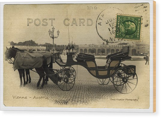 Vienna Carriage Wood Print by Cecil Fuselier