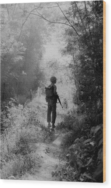Vietnam War. A Us Marine Walking Point Wood Print by Everett
