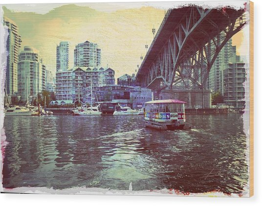 View From Granville Island Wood Print by Barbara  White