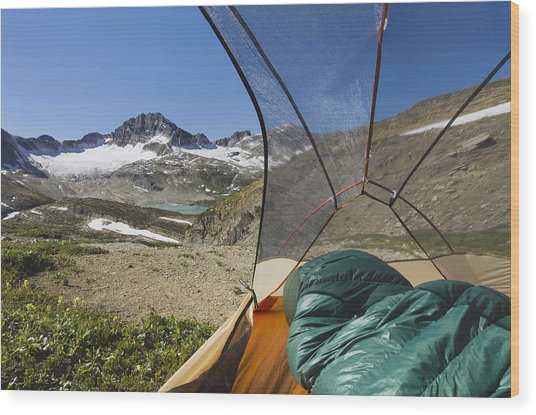 View From Tent Of Russell Peak Wood Print