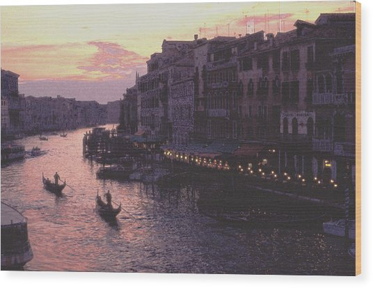 View From The Rialto Venice Wood Print