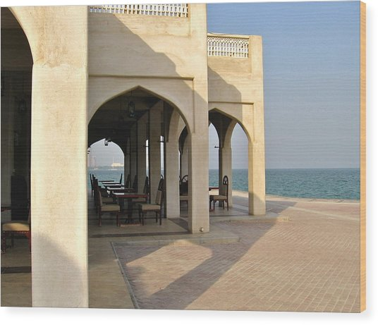View Of Al Bandar At Doha Corniche Wood Print by David Ritsema