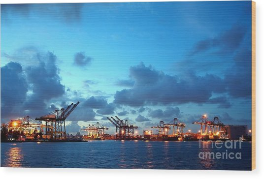 View Of Kaohsiung Harbor At Dusk Wood Print