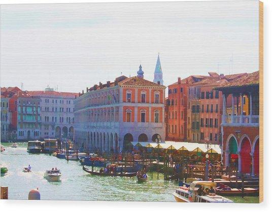 View Of Venice's Market Wood Print