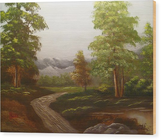 View To The Mountains Wood Print by Marie Dulny