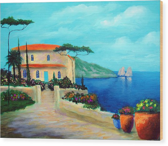 Villa Of Amalfi Wood Print