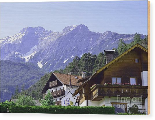 Village In Alps Wood Print