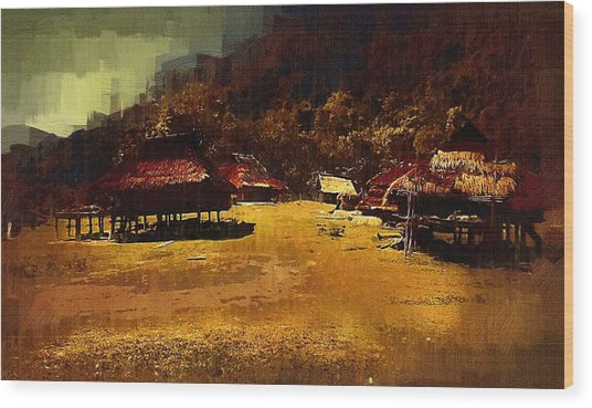 Village In Northern Burma Wood Print