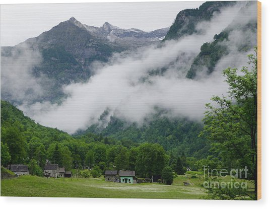 Village In The Alps Wood Print