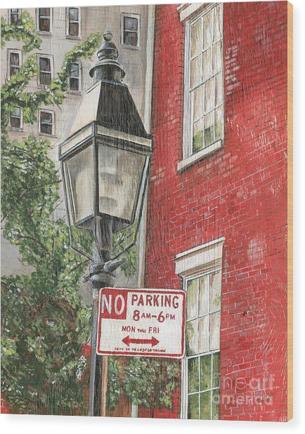 Village Lamplight Wood Print