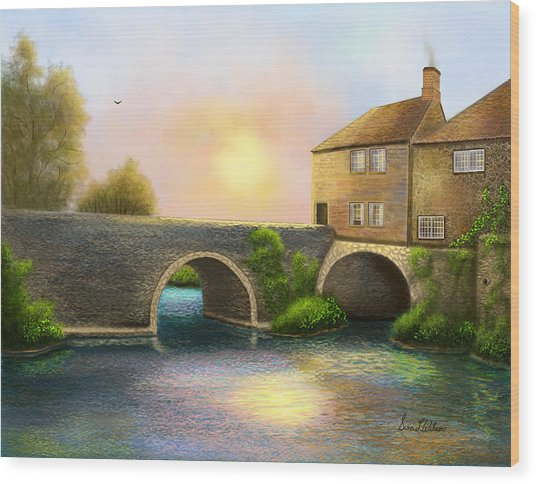 Village On The River Wood Print