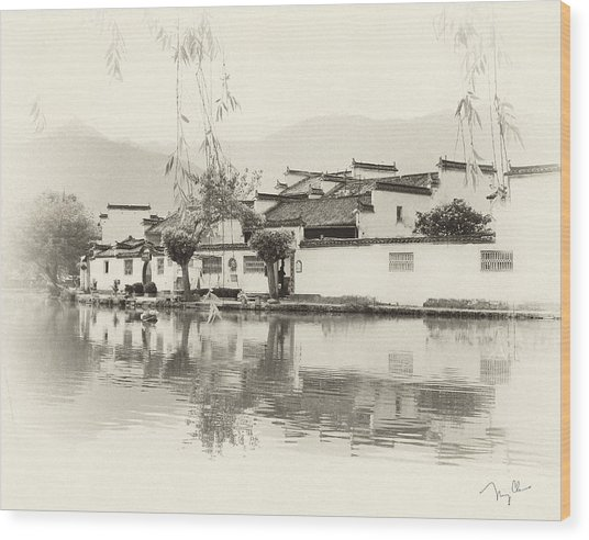 Village On Water Wood Print by Nian Chen