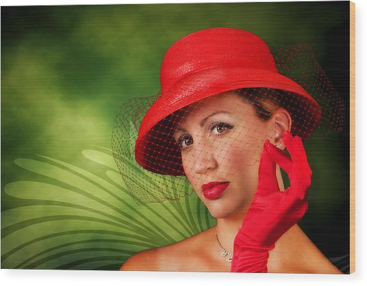 Vintage - Red Hat Lady Wood Print