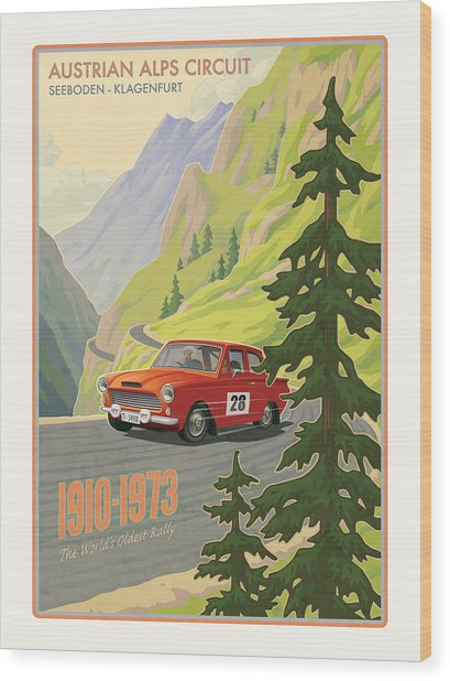 Vintage Austrian Rally Poster Wood Print