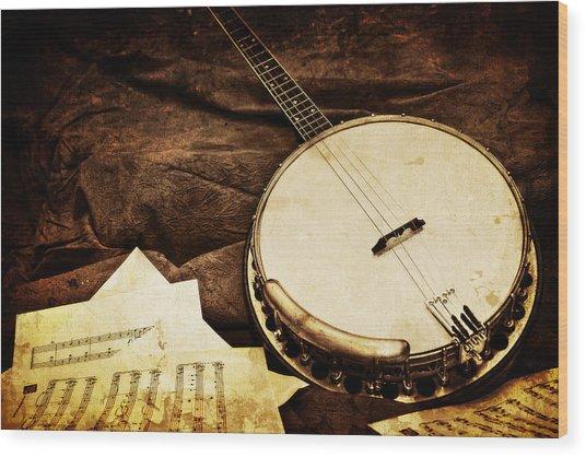 Vintage Banjo Wood Print by Trudy Wilkerson