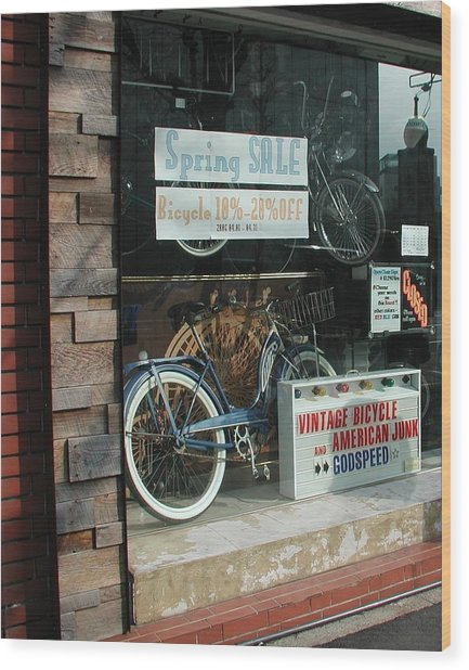 Vintage Bicycle And American Junk  Wood Print