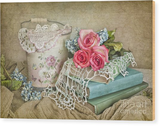 Vintage Books And Roses Wood Print