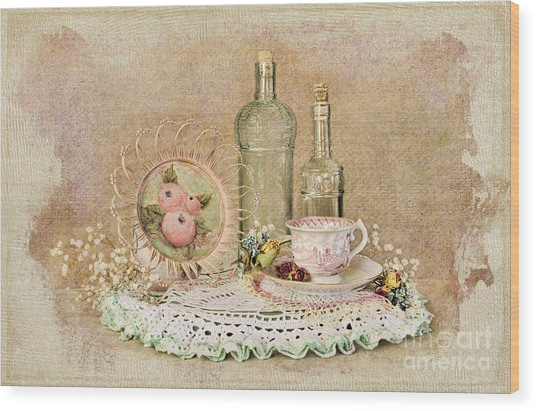 Vintage Bottles And Teacup Still-life Wood Print