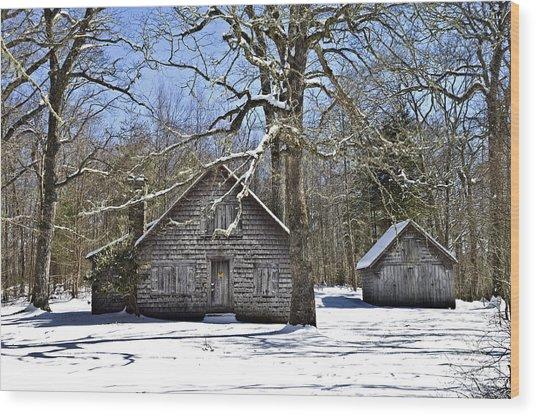Vintage Buildings In The Winter Snow Wood Print