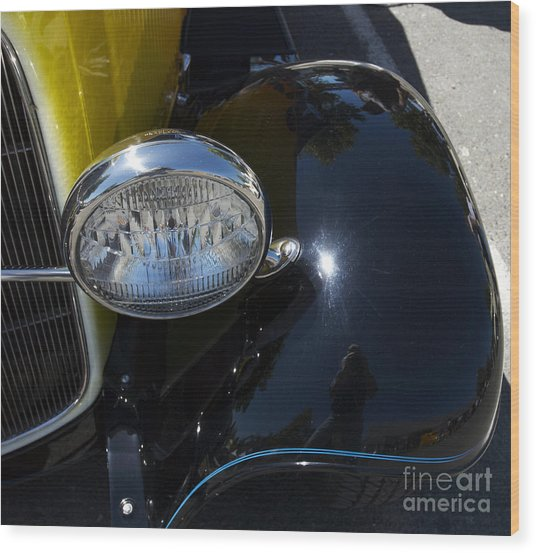 Vintage Car Reflection Wood Print