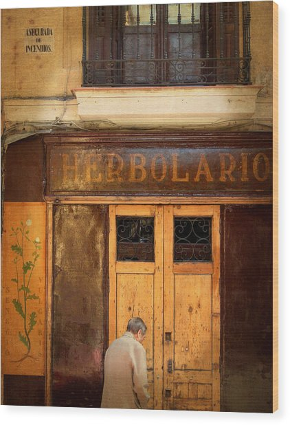 Vintage Facade In Madrid Wood Print