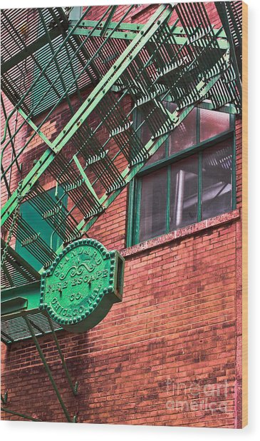 Vintage Fire Escape Wood Print